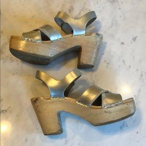 No. 6 Silver Clog Sandals